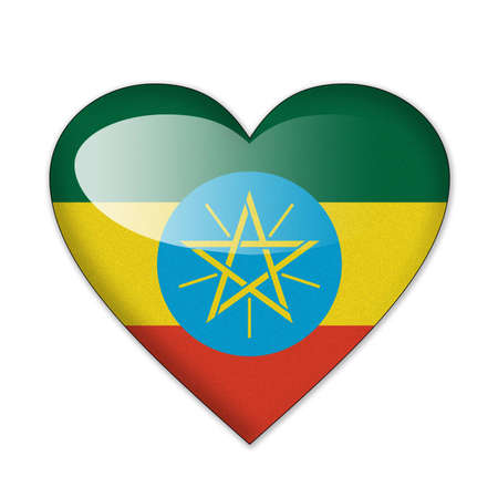 Ethiopia flag in heart shape isolated on white background photo