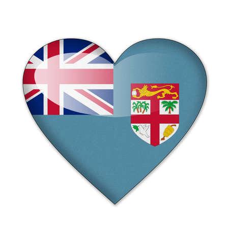fiji: Fiji flag in heart shape isolated on white background Stock Photo