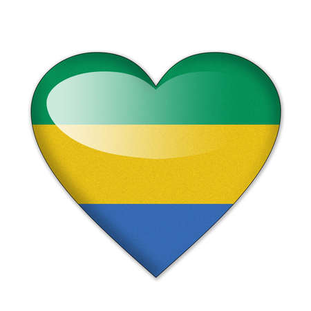 Gabon flag in heart shape isolated on white background photo