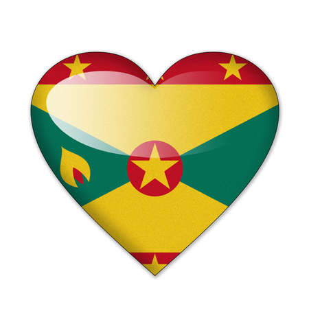 grenada: Grenada flag in heart shape isolated on white background