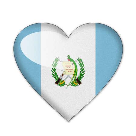 bandera de guatemala: Bandera de Guatemala en forma de coraz�n sobre fondo blanco