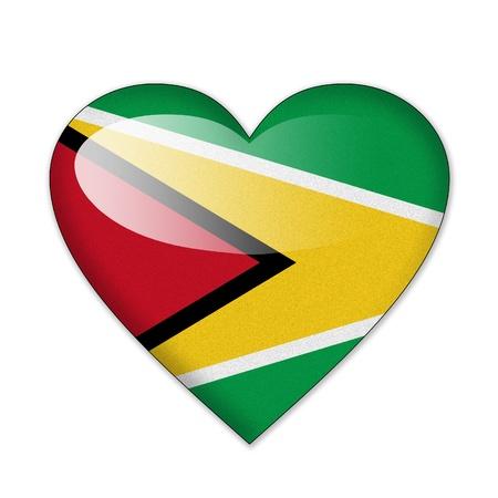 Guyana: Guyana flag in heart shape isolated on white background