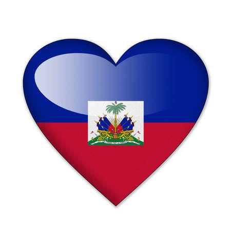 Bandera de Haití en forma de corazón sobre fondo blanco Foto de archivo - 12703012