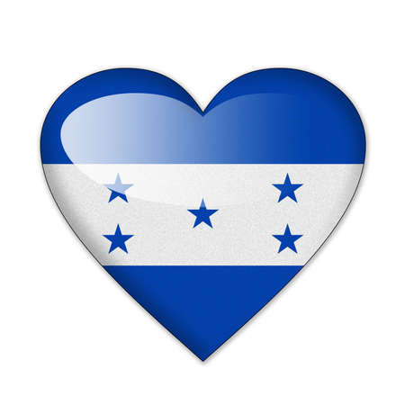 honduras: Honduras flag in heart shape isolated on white background