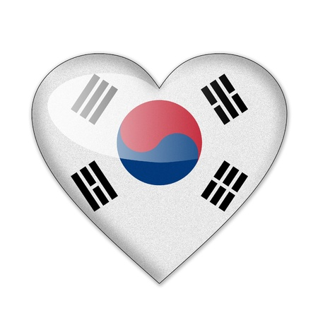 South Korea flag in heart shape isolated on white background photo