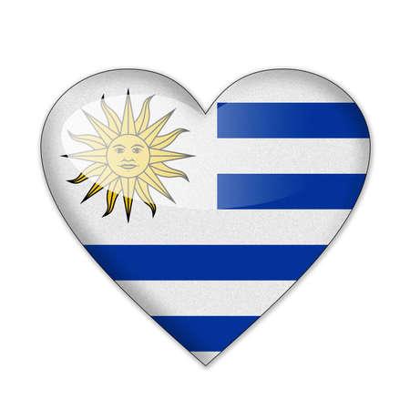 uruguay: Uruguay flag in heart shape isolated on white background Stock Photo