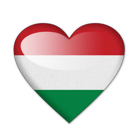 Hungary flag in heart shape isolated on white background photo