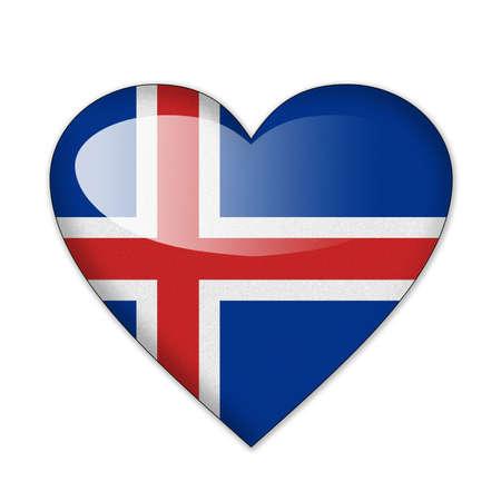 flag of iceland: Bandera de Islandia, en forma de coraz�n sobre fondo blanco
