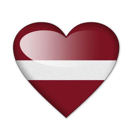 Latvia flag in heart shape isolated on white background photo