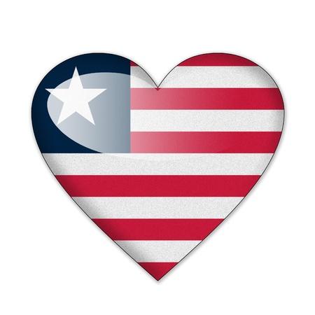 liberia: Liberia flag in heart shape isolated on white background