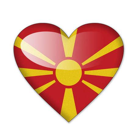 macedonia: Macedonia flag in heart shape isolated on white background Stock Photo
