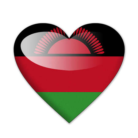 malawi flag: Malawi flag in heart shape isolated on white background