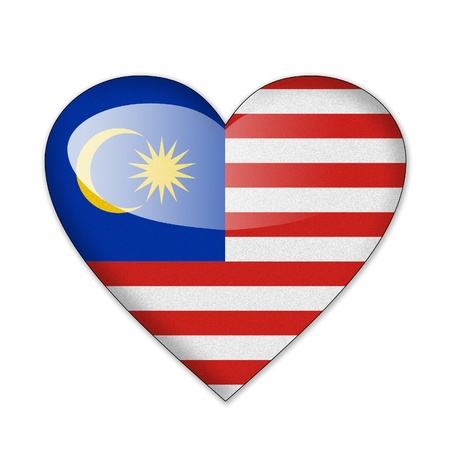malaysia culture: Malaysia flag in heart shape isolated on white background Stock Photo