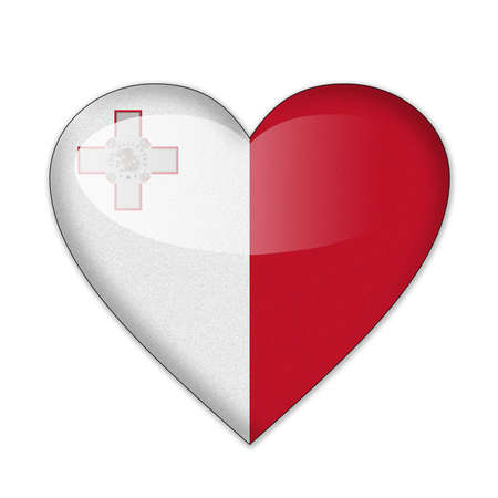 심장 모양의 흰색 배경에 고립 몰타 플래그