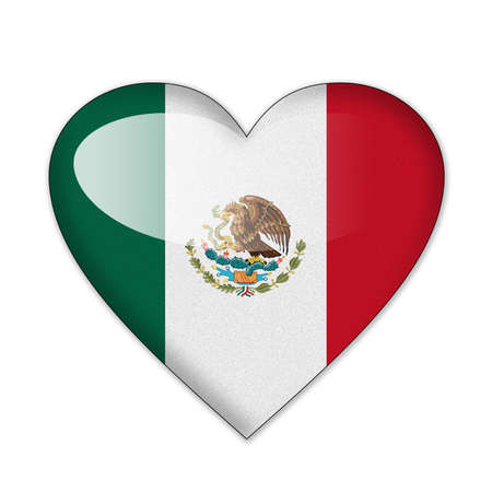 Mexico flag in heart shape isolated on white background photo