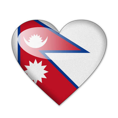 Nepal flag in heart shape isolated on white background photo
