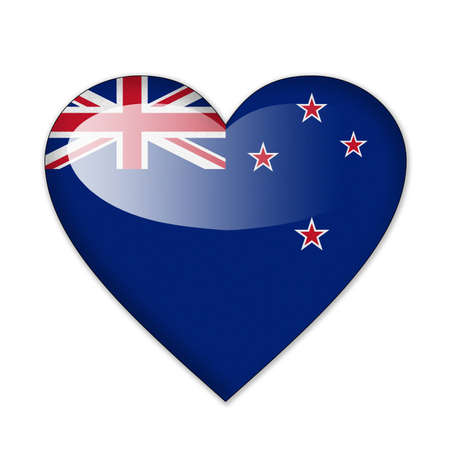 New Zealand flag in heart shape isolated on white background photo