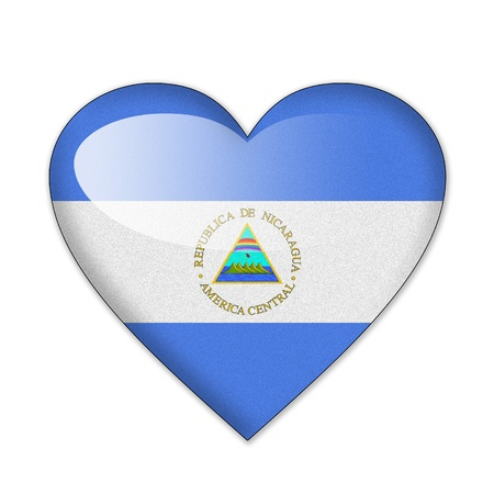 Nicaragua flag in heart shape isolated on white background photo