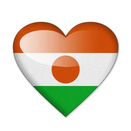 niger: Niger flag in heart shape isolated on white background Stock Photo