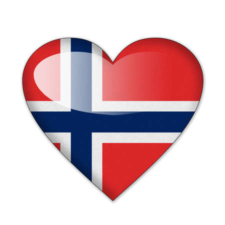 norway flag: Norway flag in heart shape isolated on white background