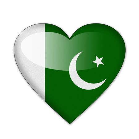 파키스탄: 심장 모양의 흰색 배경에 고립 파키스탄 플래그
