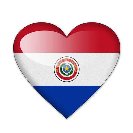 bandera de paraguay: La bandera de Paraguay en forma de coraz�n sobre fondo blanco