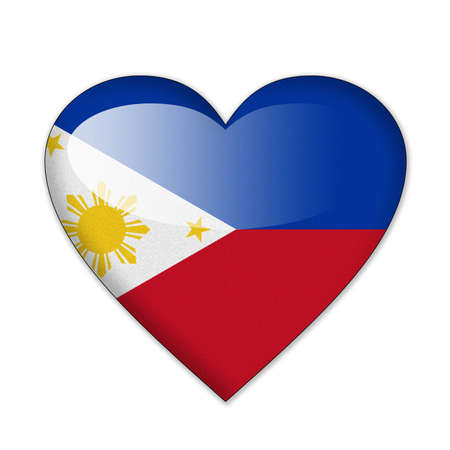 Philippines flag in heart shape isolated on white background photo