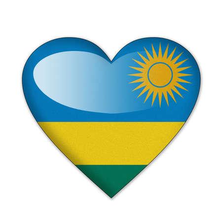 Rwanda flag in heart shape isolated on white background photo