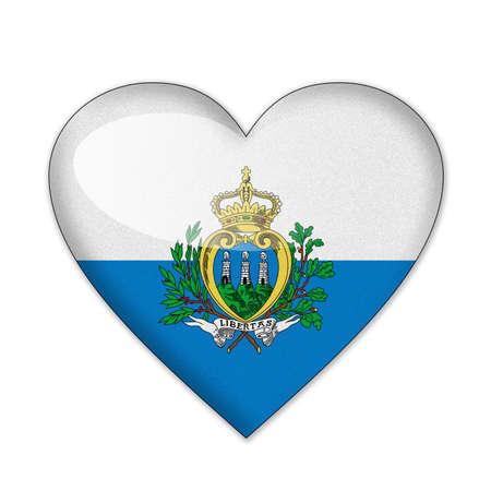san marino: San Marino flag in heart shape isolated on white background