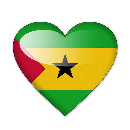 principe: Santo Tomé y Príncipe Bandera en forma de corazón sobre fondo blanco Foto de archivo