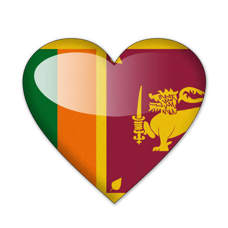 srilanka: Sri Lanka flag in heart shape isolated on white background