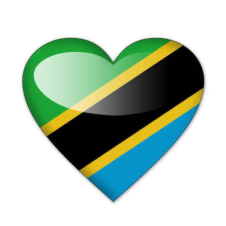 Tanzania flag in heart shape isolated on white background photo