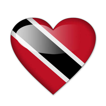 Trinidad and Tobago flag in heart shape isolated on white background photo