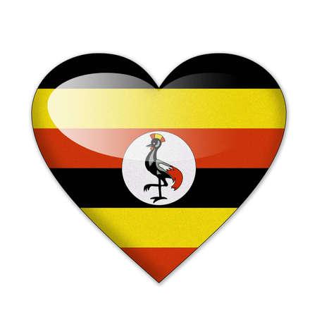 uganda: Uganda flag in heart shape isolated on white background Stock Photo