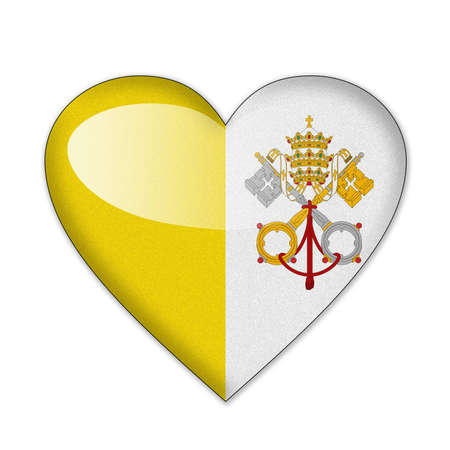 Vatican flag in heart shape isolated on white background Stock Photo - 12703888