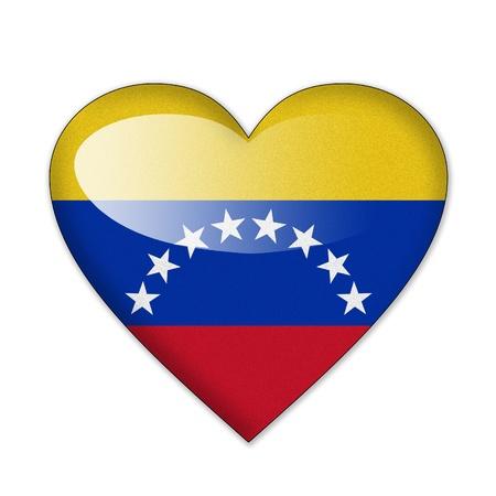 La bandera de Venezuela en forma de corazón sobre fondo blanco Foto de archivo - 12703879