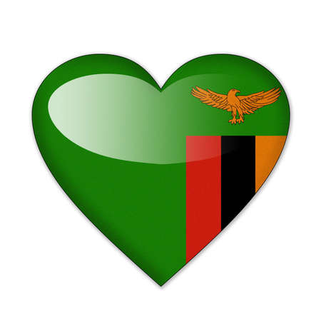Zambia flag in heart shape isolated on white background photo