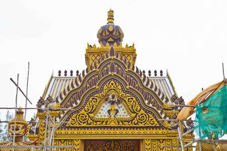 ornately: Detail of ornately decorated unconstruction temple roof Stock Photo
