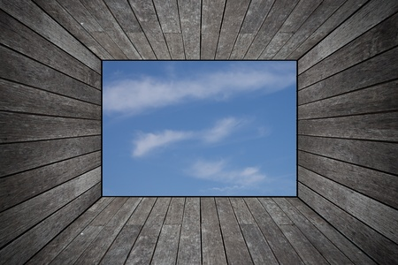 Grunge old wood texture room background with sky photo