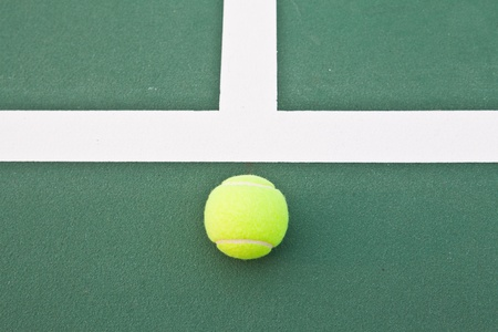 Tennis court at base line with ball Stock Photo - 12998768