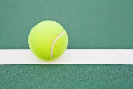 Tennis court at base line with ball Stock Photo - 12998767