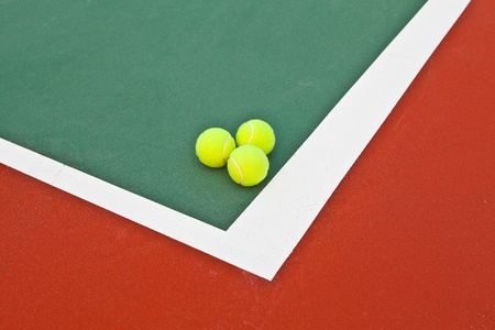 Tennis court at base line with ball Stock Photo - 12998784