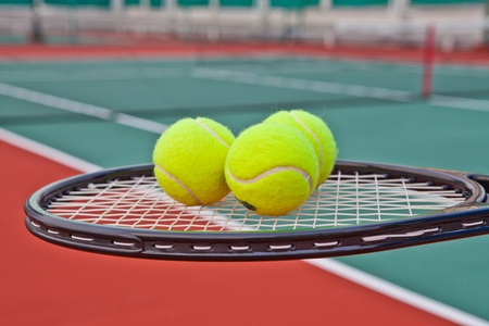 Tennis court with ball and racket Stock Photo - 13129786