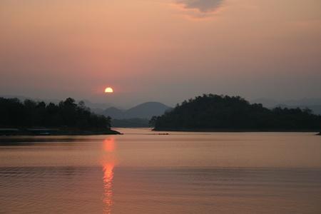 kaeng: Sunset over the Kaeng Krachan Dam, Thailand