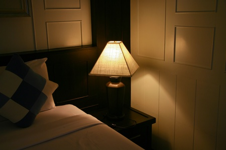 Hotel Bed & Night Table photo
