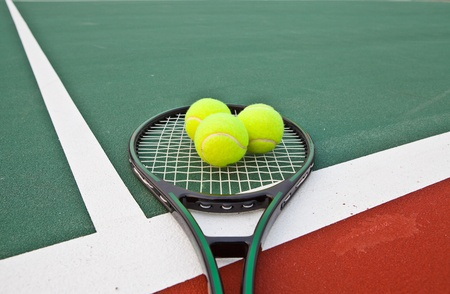 Tennis court with balls and racket Stock Photo - 13595645