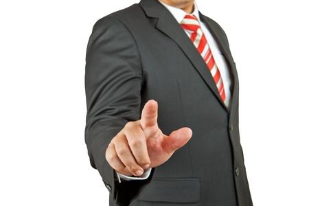 businessman hand pushing screen on white background photo