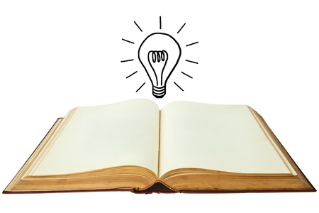 Book of lightbulb isolated on white background