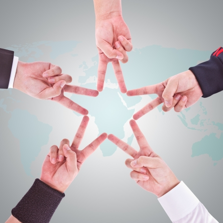 combined effort: Hands in the form of a star