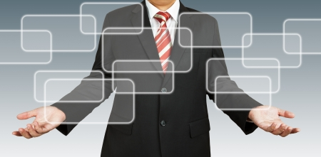 Businessman with blank rectangular Stock Photo - 13811748